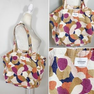 SEZANE abstract floral canvas tote bag